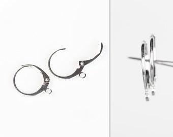 2501_925 silver leverback ear wires 15.2 х 12.1 mm, Leverback earring settings, Sterling silver earring findings, French earwires _1 pair.