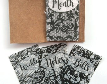 Black Lace Vellum Planner Dashboards For TN's and Midori Travelers Notebook V112