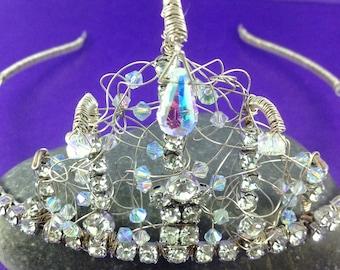 1950's Rhinestone Necklace, Handcrafted Tiara, Swarovski Crystals, Vintage Wedding, Bridal, OOAK, Downton Abbey