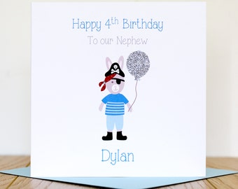 Personalised Boys Pirate Birthday Card - 1st, 2nd, 3rd, 4th, 5th