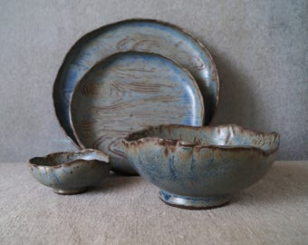 Handmade Ceramic Dish Set, Ceramic Dinner Plates, Serving/Decorative Pottery Set,Wood Texture, Rustic Glaze, Unique One of The Kind Gift.