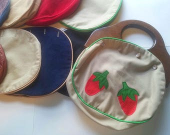 Handmade ooak vintage interchangeable 12 cover miche style wooden handle clutch purse handbag bag navy plaid white red ribbon 1970s lot
