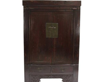 50% Off - Antique Painted Chinese Armoire, Asian cabinet, Wardrobe Armoire, Antique Armoire, Asian Armoire, Chinese cabinet, Vintage Armoire