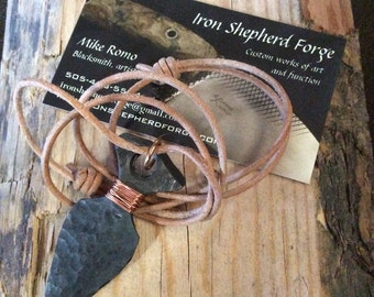 Hand forged steel arrowhead pendant