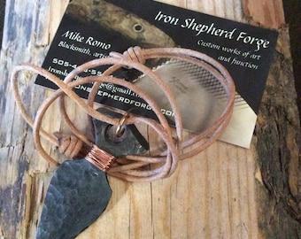 Hand forged steel arrowhead pendant