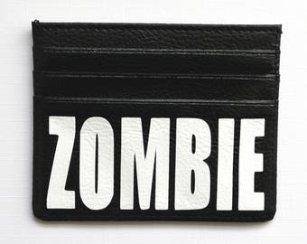 Leather credit card holder - zombie wallet - zombie gift idea - leather wallet - leather wallets - card holders - zombie gifts - horror
