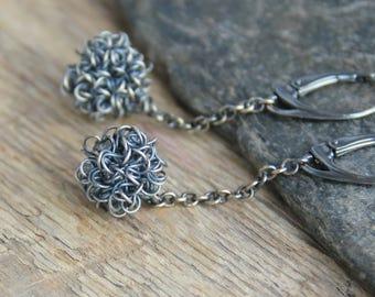 Sterling silver earrings dangle metal earrings raw jewelry rustic jewelry long earrings boho rustic earrings artisan jewelry