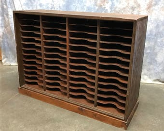 52 Slot Post Office Mail Sorter Cabinet Organizer Vintage Cubbyholes Wood
