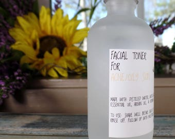 Acne Facial Toner, Oily Skin Facial Toner, Face Toner, Witch Hazel Toner, Organic Toner, All Natural Toner, Rosemary Face Toner,
