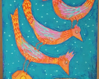 Bright Birds Original Folk Art Painting on wood - Free Shipping US