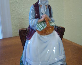 Royal Doulton figurine,Rest Awhile,made in England,1980,bone china,woman sitting,basket,bonnet,country scene,home decor,collectible