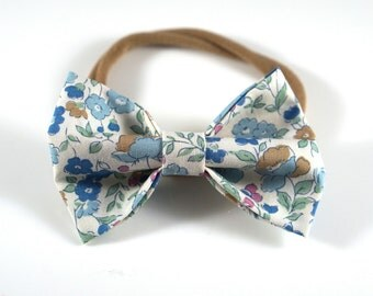 Blue Floral Bow. Blue Floral Headband. Baby Headband. Newborn Headband. Toddler Headband. Newborn Photo Prop. Floral Baby Bow.