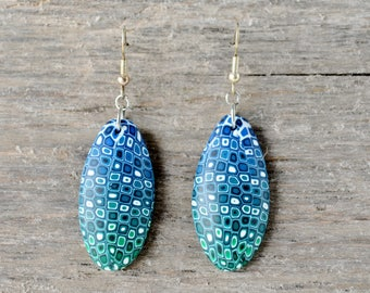 Blue-Green Retro Cane Polymer Clay Drop Earrings
