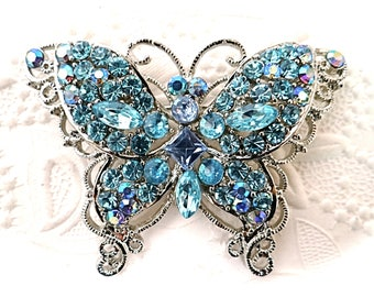 Vintage Rhinestone Butterfly Brooch Blue Pin Costume Jewelry VA-127