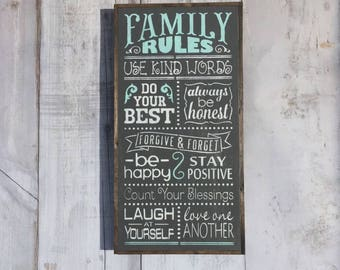 Wood Family Rules Sign, Family Rules, House Rules Sign, Family Rules Signs, Family Sign, Rules Signs, Family Signs,