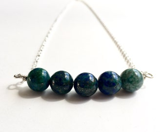 Lapis Chrysocolla, Lapis Jewelry, Planet Earth, Globe Necklace, Satellite Necklace, Planet, Galaxy Jewelry, Science, Outer Space, Astronomy