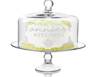 Personalized Cake Stand with Dome - cake stand, gift for baker, bridal shower gift, wedding gift, custom cake stand, dessert stand