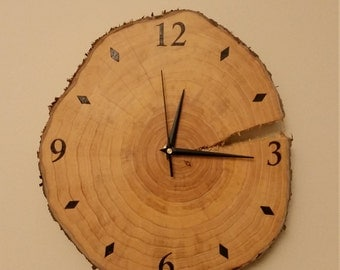 Rustic Wood Burned Cypress Tree Slice Clock