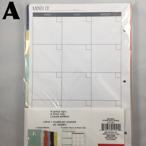 Target Mini Planner Calendar Pages Dividers And Binder