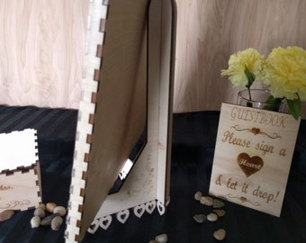 Easel, wedding guest book, wood easel, guestbook stand