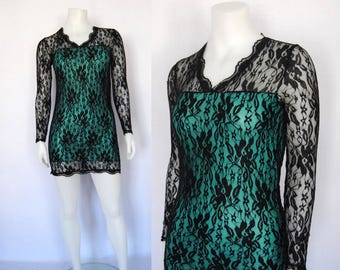 90s lace dress, vintage goth minidress -- green and black lace, tube dress, short, fitted, stretchy, bodycon mini dress, 1990s 90s clothing