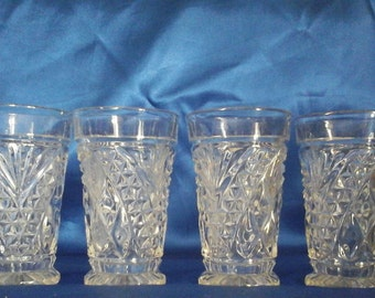 4 Vintage Anchor Hocking Pressed Glass Tumblers