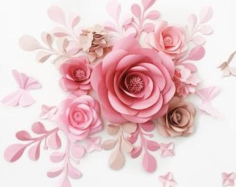 Wedding Reception Backdrop - Paper Flower Backdrop - Paper Flower Reception Decor - Paper Flower Wall Wedding Reception