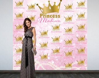 Royal Princess Baby Shower Backdrop- Welcome Princess Photo Booth Backdrop- Pink Princess Backdrop, Royal Baby Shower Photo Backdrop