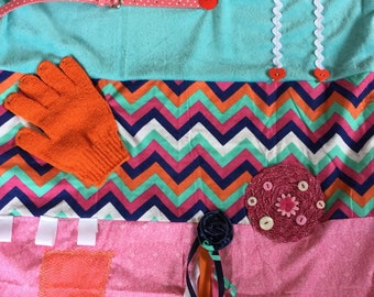 Alzheimer's Fidget quilt | Fidget blanket | Dementia | Twiddle muff | sensory blanket | BOLD CHEVRON |  by Restless Remedy