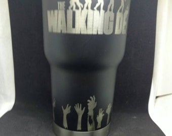 Custom powder coated and laser engraved rtic tumbler. Laser engraved  WALKING DEAD 30 oz tumbler.