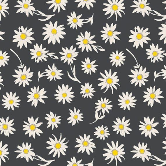 Crib Skirt >> Wonderful Things Flower Glory in Black > MADE-to-ORDER black crib skirt, daisy crib skirt, floral bedding, flower baby bedding