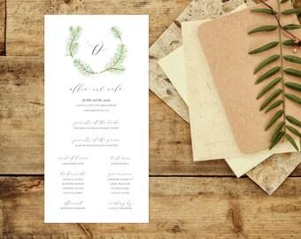 pine tree wedding program forest wedding program outdoorsy wedding program