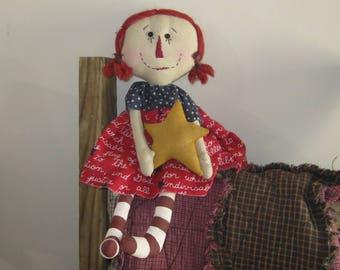 Raggedy Ann Doll - Patriotic Rag Doll- Shelf Sitter Doll - Americana Decor - Americana Doll - FAAP~HAFAIR~TEAMHAHA