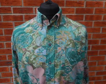 1980s abstract flower pattern long sleeve shirt Large