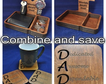 Wooden Valet Tray with removable Back Stand and Matching Acrostic Dad Coaster: Choice of Colours. Keys, Wallet, Keys, Change, Watch