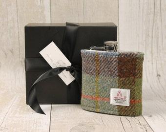 Hip Flask / Harris Tweed / Groomsman Gift / McLeod Tartan / Tweed Flask / Scottish Gift / Wedding Gift / Plaid Flask / Tartan Hip Flask