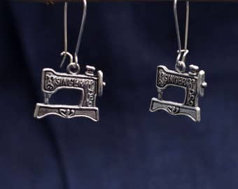 Earrings with Singer sewing machine silver