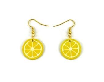 Yellow lemon slices earrings, modern and graphic dangle earrings, plastic fancy gourmand earrings (recycled CD), woman gift idea
