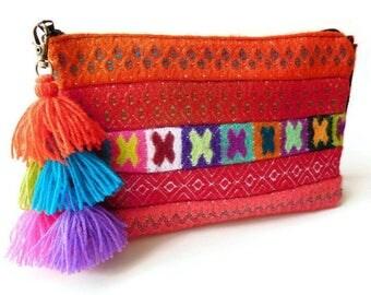 boho purse clutch geometric handbag bohemian clutch tribal purse gypsy clutch tassel bag charm