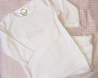 Personalized Newborn Infant Gown - Baby Girl Gift - Vintage Script Stitch