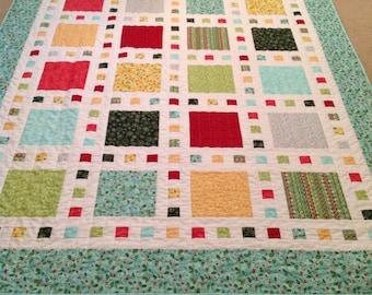 Squares/aqua/Christmas quilt