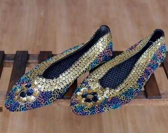 vintage sequin ballerinas slippers glitter golden 80s' india