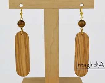 Handmade Olive wood and tiger eye earrings, gold plated