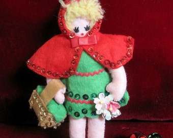 Vintage Finished Bucilla Christmas Ornament  Little Red Riding Hood, Felt Decoration, 1970s Christmas Ornament, Rare
