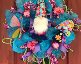 Gnome spring and summer wreath. Spring wreath. Summer wreath. Garden wreath. Gnome wreath. Gnome decor. Butterfly wreath. Summer wreath