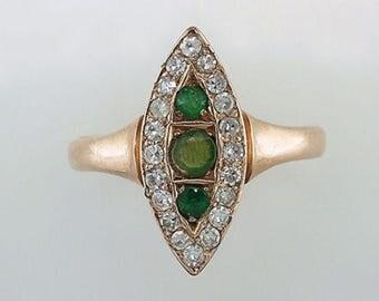 Vintage Antique .65ct Emerald & Diamond 14K Gold Victorian Cocktail Ring