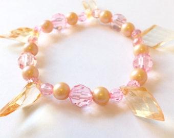 Peach Dangle Beaded Acrylic Bracelet