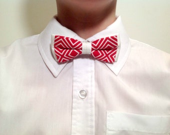 child bow tie, white and red, lozenge pattern