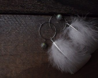 White feather earrings, feather earrings, hoop earrings