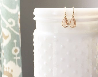 MISCHA | Gold + Blush Faceted Glass Teardrop Earrings | Blush Drop Earrings | Blush Bridesmaid Earrings | Gold + Blush Earrings